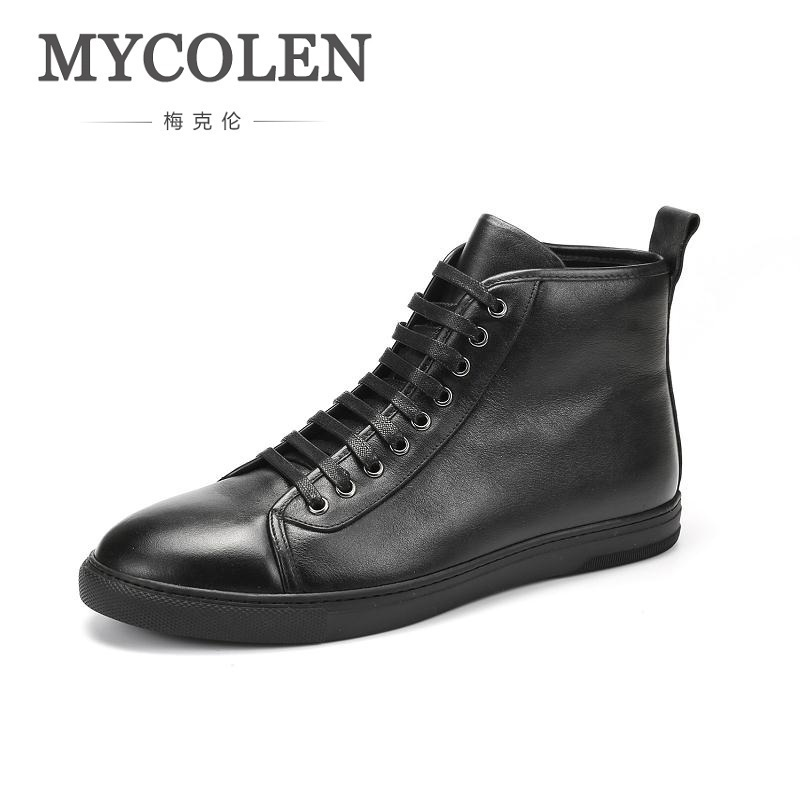 MYCOLEN 2018 Men Boots Genuine Leather High-top Men Shoes Fashion Winter Leather Ankle Boots Leisure Male Boots Kar Botu