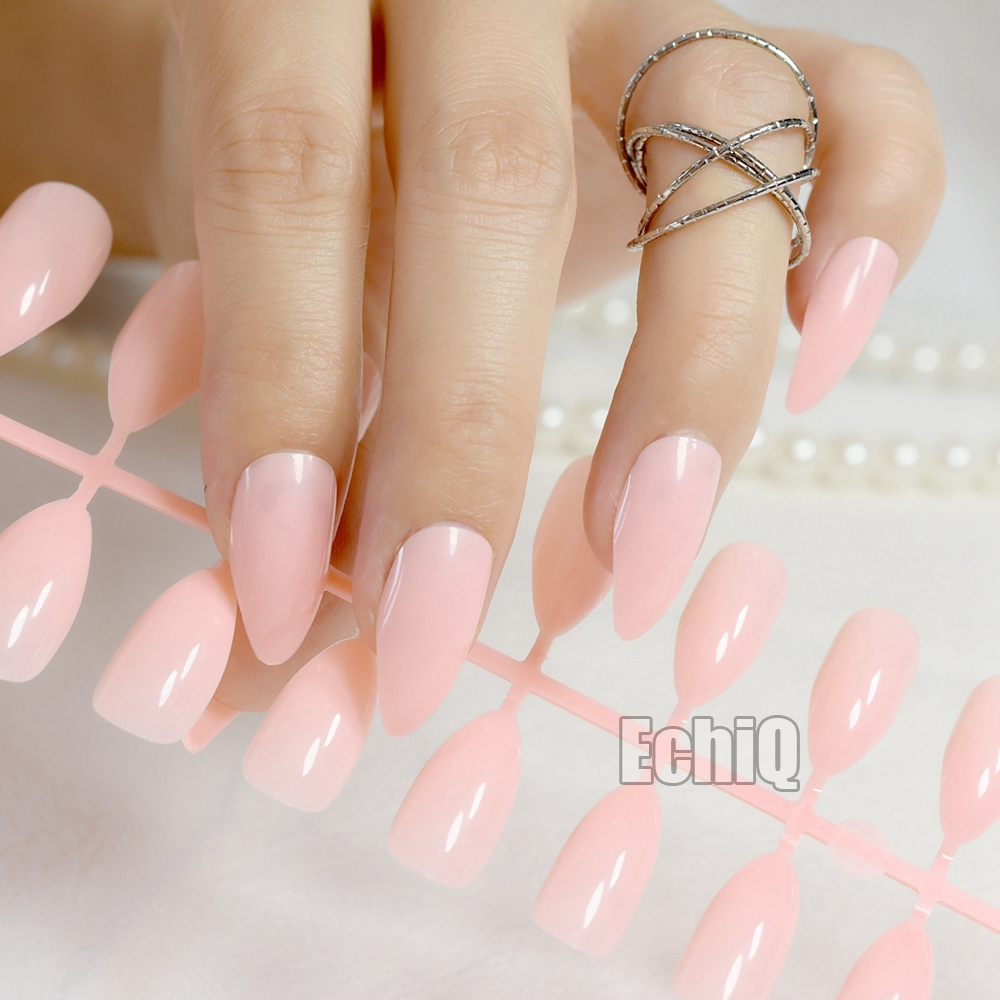 Almond Design Nail Art Tips Pink Medium Pointed Full Cover Acrylic ...