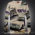 Personalidad wacky retro coche 3D impresión digital t shirt homme 2016 Primavera y Otoño estilo Europeo de manga larga t shirt de los hombres M-XXXL