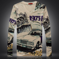 Personality wacky retro car 3D digital printing t shirt homme 2016 Spring&Autumn European style long sleeve t shirt men M-XXXL