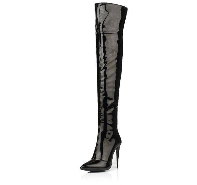 Zobairou Picture Picture Haute 2018 Cuir as En Overknee Sexy Chaussures Verni Extrême Noir Feminina Bota Pluie Longue Mince Rouge Latex Bottes Talons Femme As qSw15gqxHr