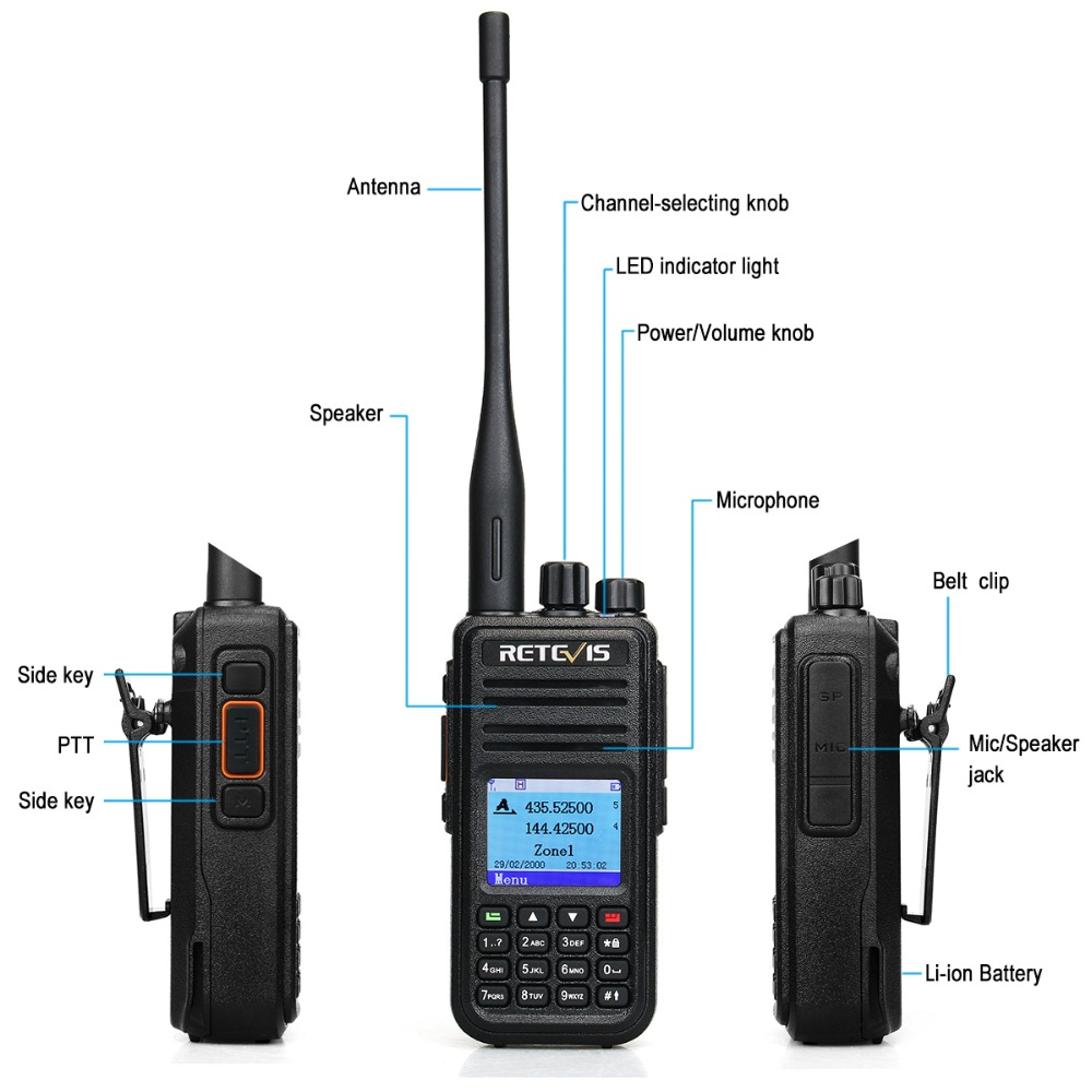 Retevis RT3S Dual Band DMR Цифровий Walkie Talkie - Рації - фото 3