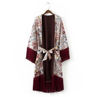 Women Vintage Flower Printed Tassels Kimono Shirt 2017 New Fashion V Neck Belt Patchwork Cardigan Casual