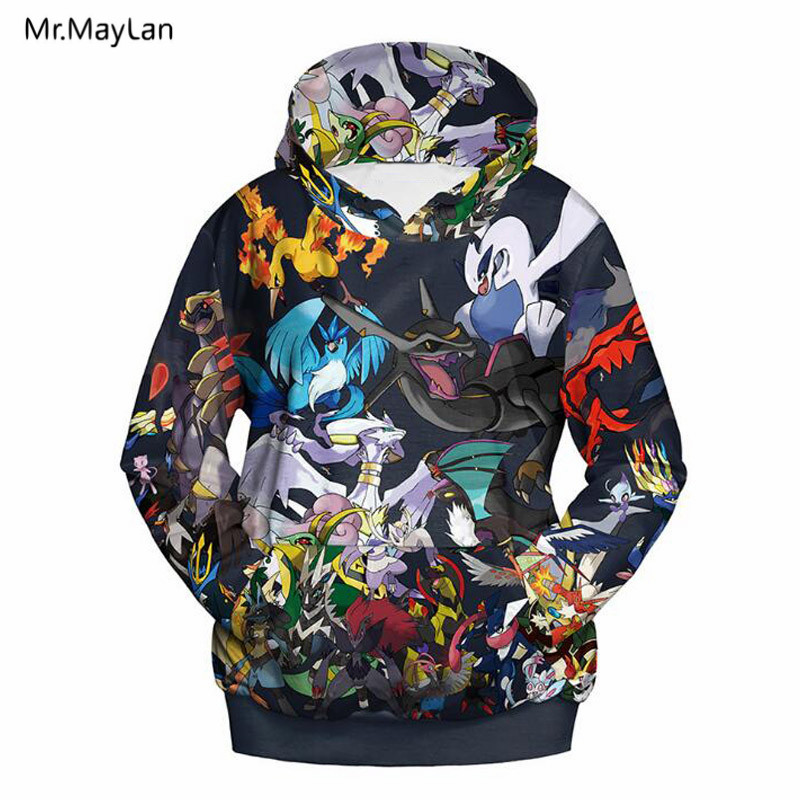 Men Women 3D Hoodies Print Cartoon Pokemon Spring Autumn Streetwear Pullover Hooded Sweatshirts Hip Hop Casual Tops Boy Jackets