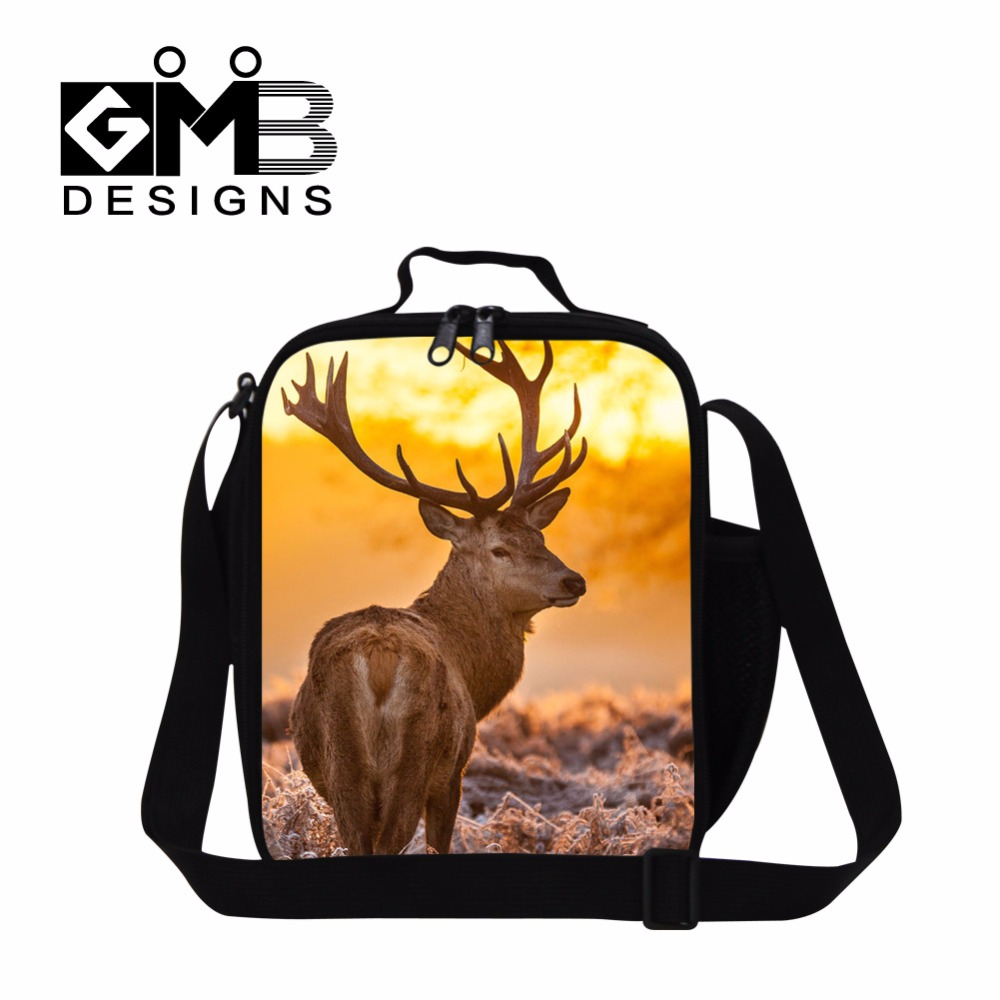 Elk Designer Insulated Lunch Bags Kids,Womens Cut lunch Container Work,Girls Animal Printd Lunch Box Bag for School,Meal Bags