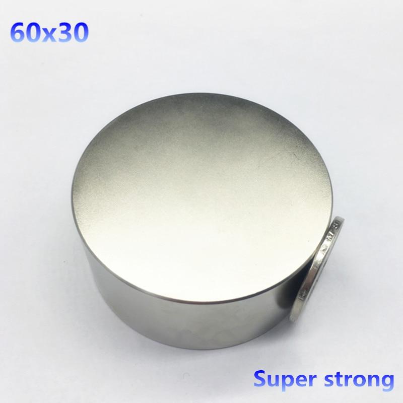 free shipping 1pcs 60mmx30mm Round Cylinder Neodymium Permanent Magnets 60*30 NEW 60x30 mm Art Craft Connection qs 3mm216a diy 3mm round neodymium magnets golden 216 pcs