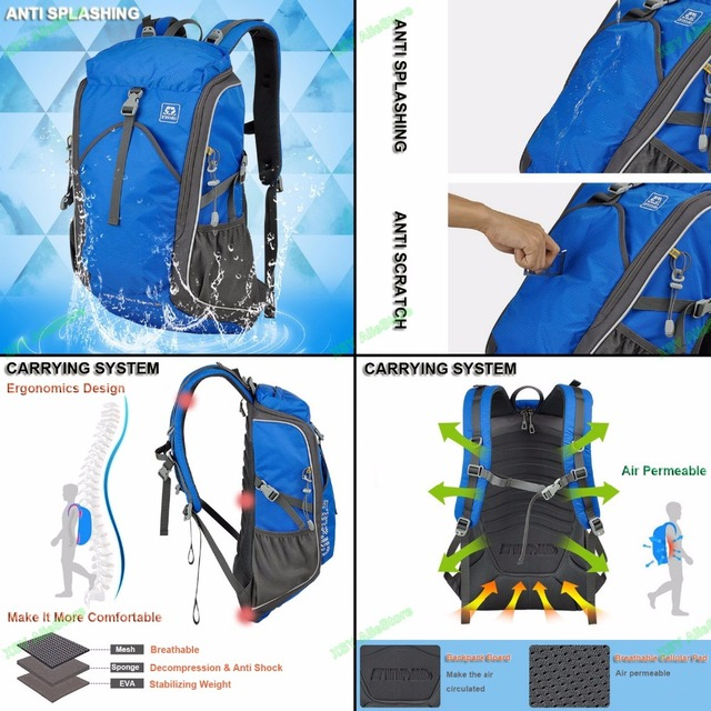 SINPAID Riding Backpack Large Capacity Waterproof Outside Travel Bag with Strap for Holding Alpenstock Black Yellow & Blue