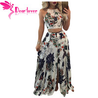 Dear Lover Boho Skirt Set Women Two Piece Outfits Summer Trendy Floral Print Crop Top With