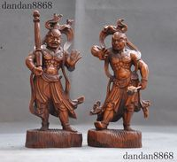 christmas Chinese precious Boxwood wood Hand carved Heng Ha two Soldiers Door god Statue halloween