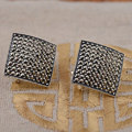 Стерлингового Серебра 925 Серьги для Женщин Площади МАРКАЗИТ Стад Серьги S925 Серебро букле d'oreille