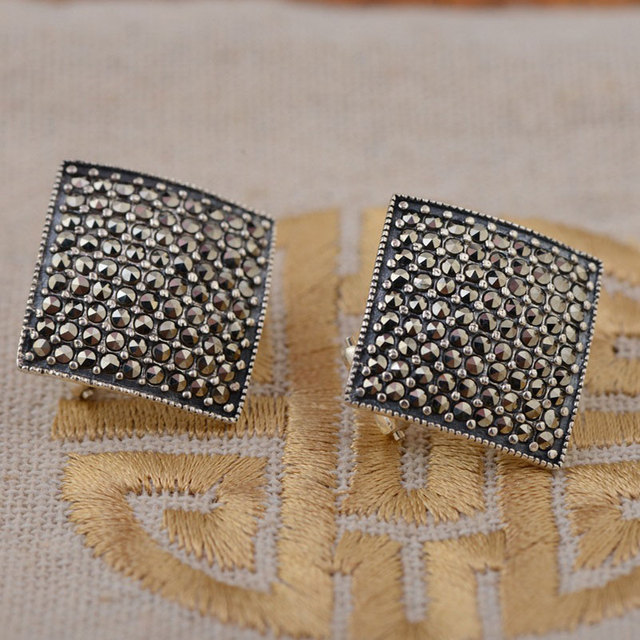 925 Sterling Silver Earrings for Women Square MARCASITE Stud Earring S925 Silver boucle d'oreille