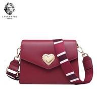 LAORENTOU high quality fashion luxury brand handbags new 2019 fashion leather shoulder ladies wide shoulder strap heart shaped d