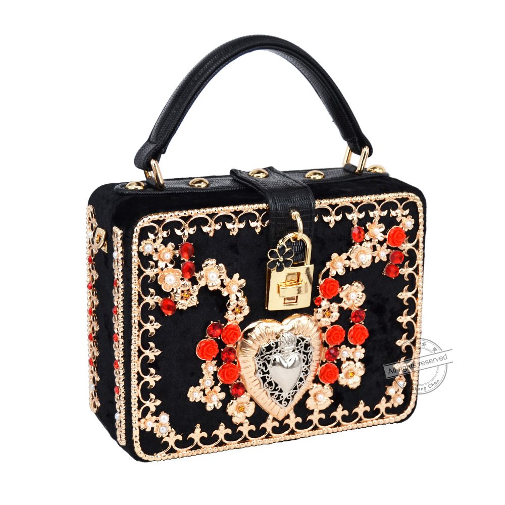 Red Flower Heart Designer Brand Mini Tote Flap Bag Black Velvet Lock Clutch Evening Bag Fashion ...