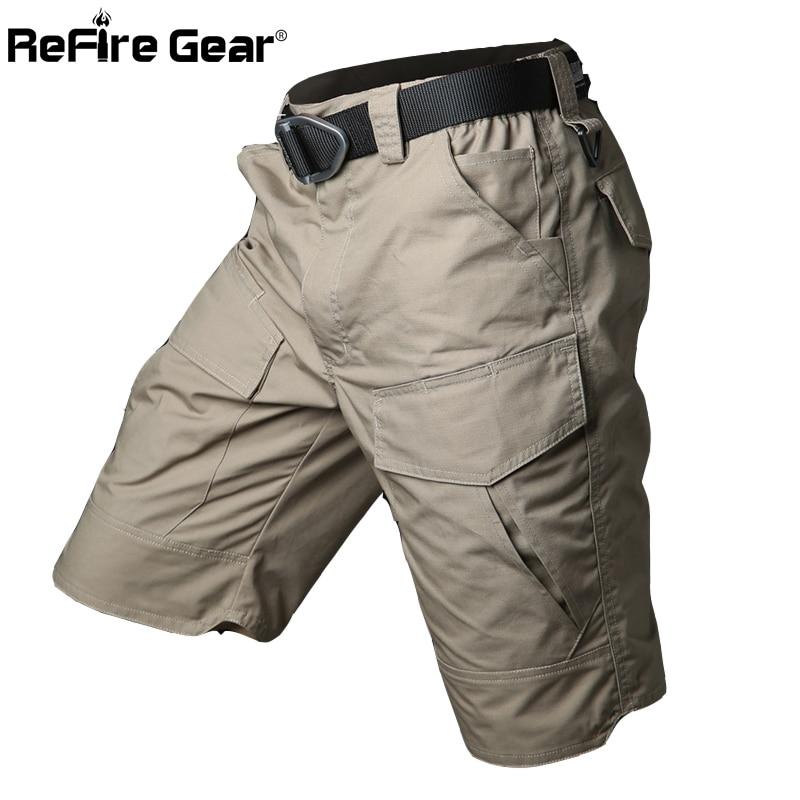 Verão militar à prova dwaterproof água tático carga shorts homens camuflagem militar do exército curto masculino bolsos de algodão rip-stop calções casuais