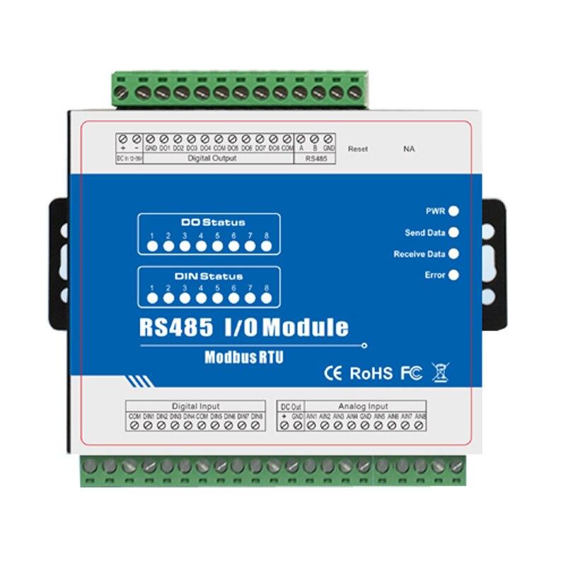 M160 Modbus Remote IO Module Data Acquisition Module (8DI+8DO+8AI) Inbuilt Watchdog Sink Output