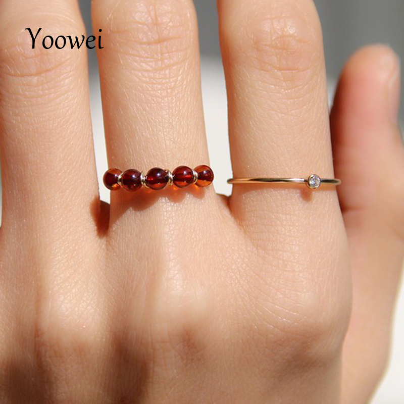 Yoowei Natural Amber Rings Wholesale 3mm Genuine Gemstone Stunning diy Handmade Chic Jewelry Baltic Amber Ring Anels Size 5--9