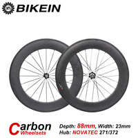 BIKEIN 3k Carbon 700C Road Bike Clincher Tubular Wheelsets 88mm Depth Rim 271 372SB Hub Ultralight