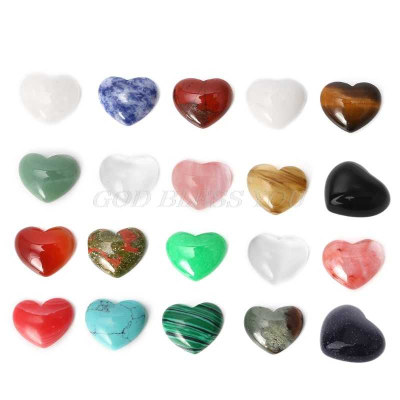 18mm Mini Quartz Crystal Stone Chakra Healing Heart Shape Crystal Reiki Stone Handmade DIY Jewelry