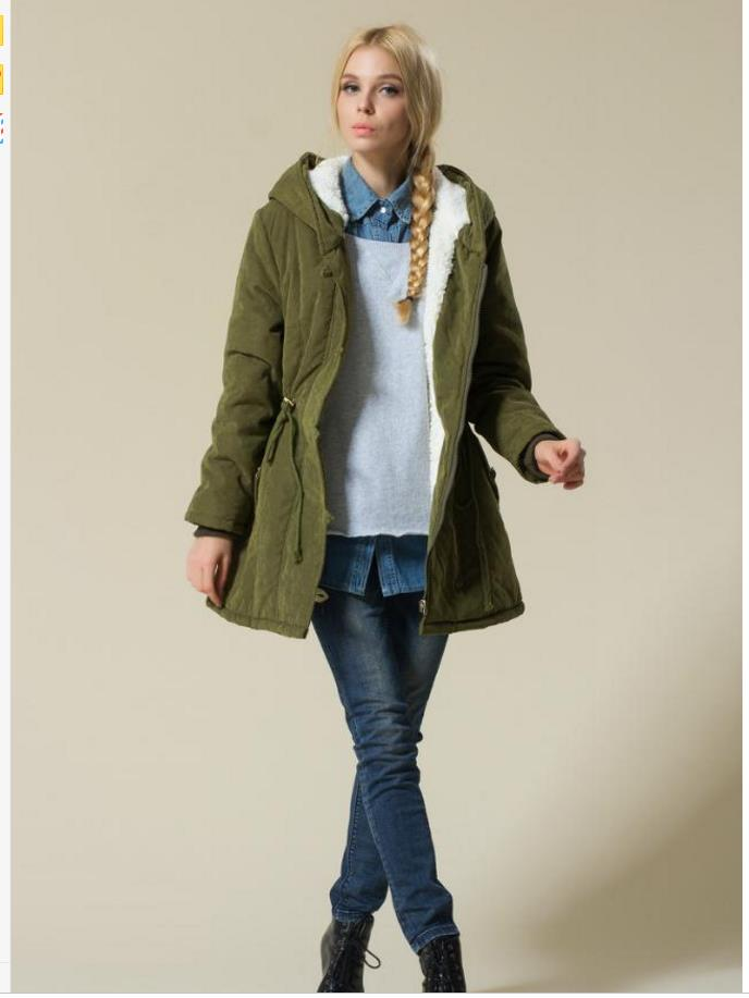 2018 fashion new lady   basic     jacket   coat lamb cashmere Drawstring waist loose cotton coat large size thick cotton clothing