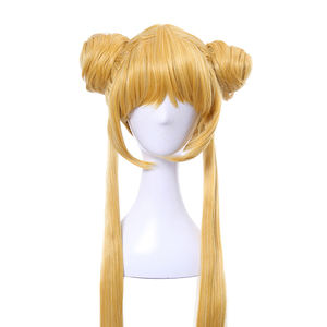 Image 4 - L email wig Sailor Moon Cosplay Wigs Super Long Blonde Wigs with Buns Heat Resistant Synthetic Hair Cosplay Wig Halloween