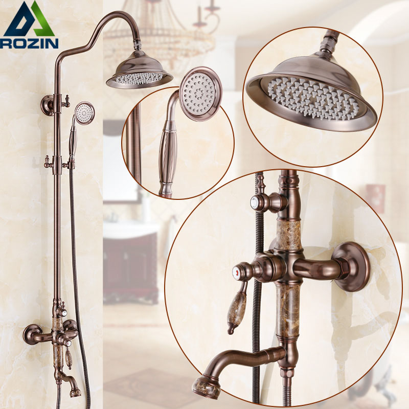 Oil Rubbed Bronze Shower Faucet Tap Single Lever Rainfall Swivel Spout Bath Shower Set with Handshower Long Spout Wall Mounted
