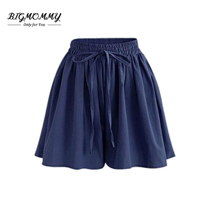 New Summer Women High Waist Shorts Large Size Solid Drawstring Casual Loose Wide Leg Short Pants Feminino Plus Size 5xl 6xl