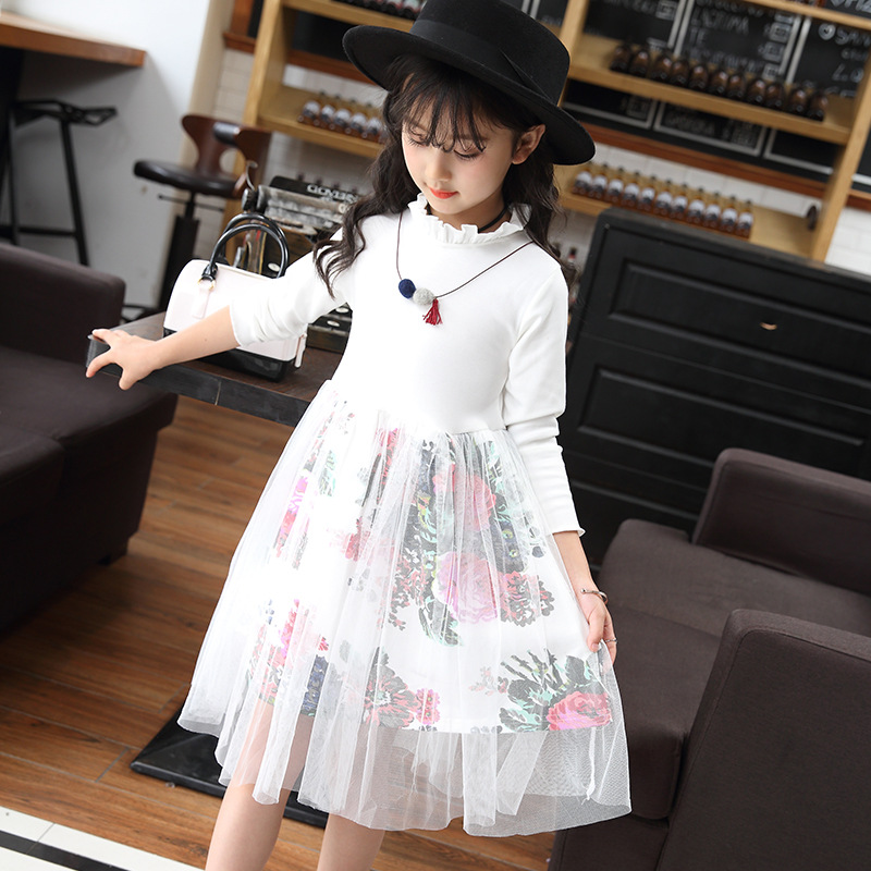 Princess Dresses Girls Floral Mesh Girls Dresses Long Sleeve Autumn Kids Dresses Teen Winter Costumes For Girls 4 6 8 12 Years in Dresses from Mother Kids