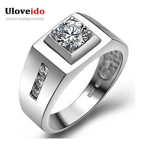 uloveido big male ring man silver wedding engagement mens rings for men with stones jewelry anel - Mens Silver Wedding Rings