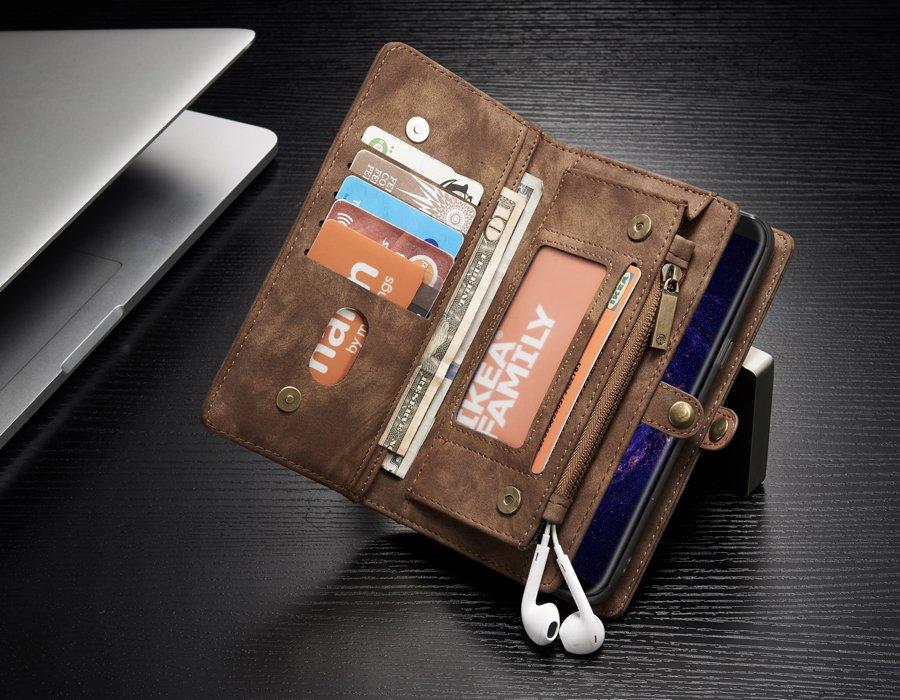 imágenes para Desmontable de la contraportada case para samsung galaxy s8 plus cremallera de metal billetera 14 ranuras de tarjetas con protector de pantalla gratuito para galaxy s8 +