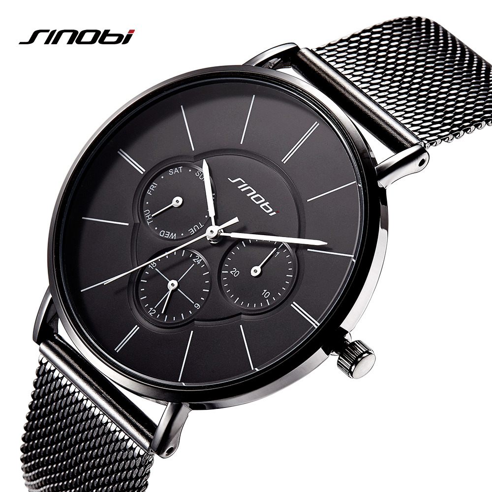 SINOBI Quartz Watches Men Wristwatches Simple Top Brand Luxury Clock Male Business Black Mens Wrist Watch relogio masculino 2018 xinge top brand luxury leather strap military watches male sport clock business 2017 quartz men fashion wrist watches xg1080