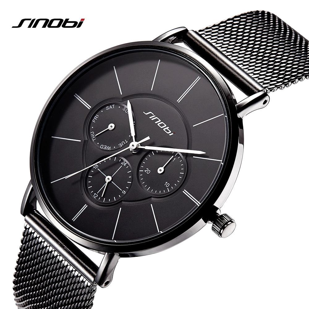 SINOBI Quartz Watches Men Wristwatches Simple Top Brand Luxury Clock Male Business Black Mens Wrist Watch relogio masculino 2018