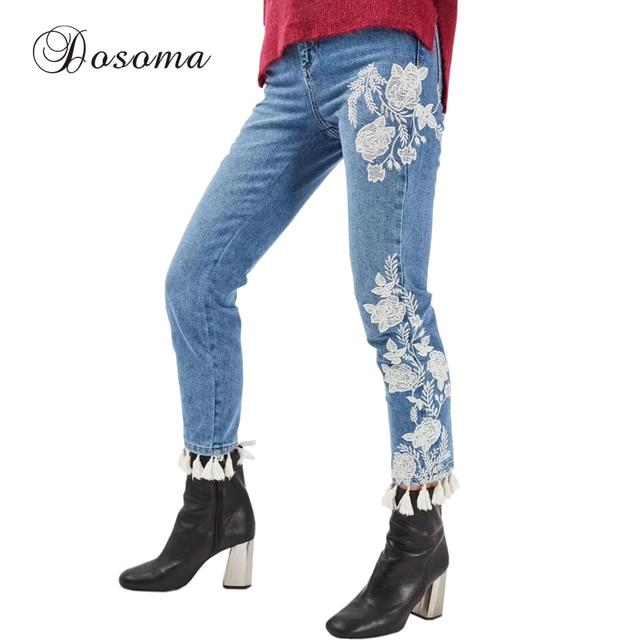 3b124e827 Pantalones Vaqueros bordados Mujer 2017 de la Alta Cintura de La Flor  Blanca Bordado Primavera Borlas