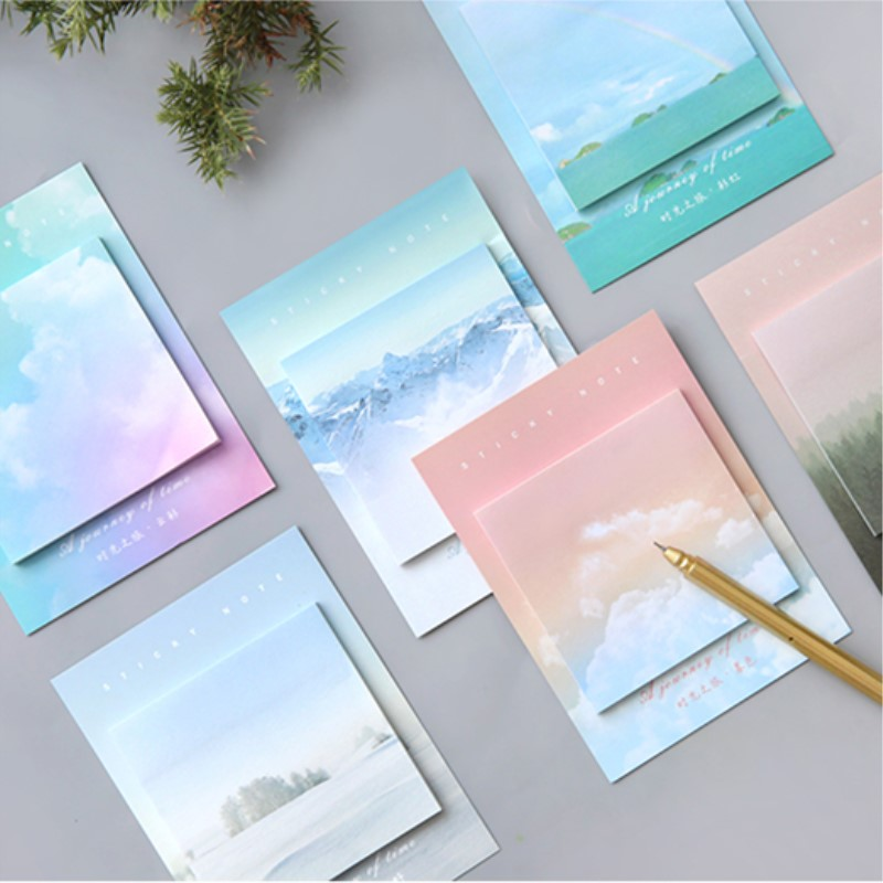 Snowscape Rainbow Natural View Memo Pad Paper Sticky Notes Notepad Stationery, 30 Sheets/pad