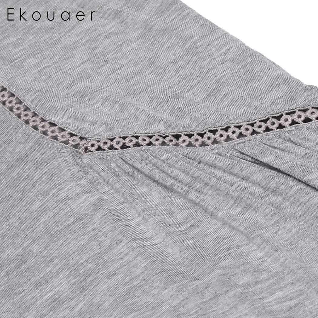 Ekouaer Women Nightgowns Nightdress Short Sleeve Button Front Female Night Gown Sleep Shirt Dress Sleepwear Plus Size S-XXL 4