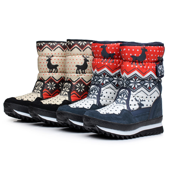 Snow boots womens middle tube winter warm cotton boot waterproof fawn boots waterproof skiing shoes