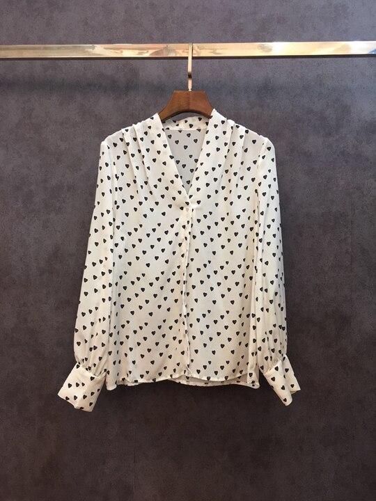 V Motif Baituan Début Décoré Longues Manches À Rose blanc Blouse Shirt1207 Point Aimer Du Au Printemps cou 2018 B8WIxIAqc