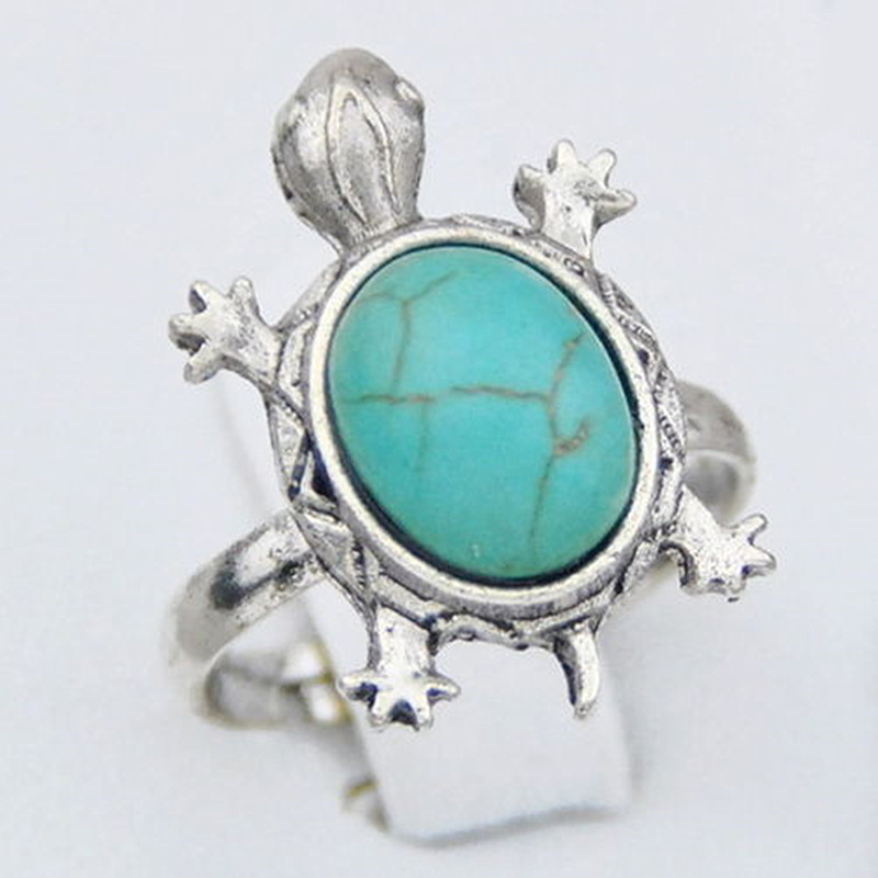 New lovely Sea turtles Natural Stone turquoises rings adjustable ring gifts mr83