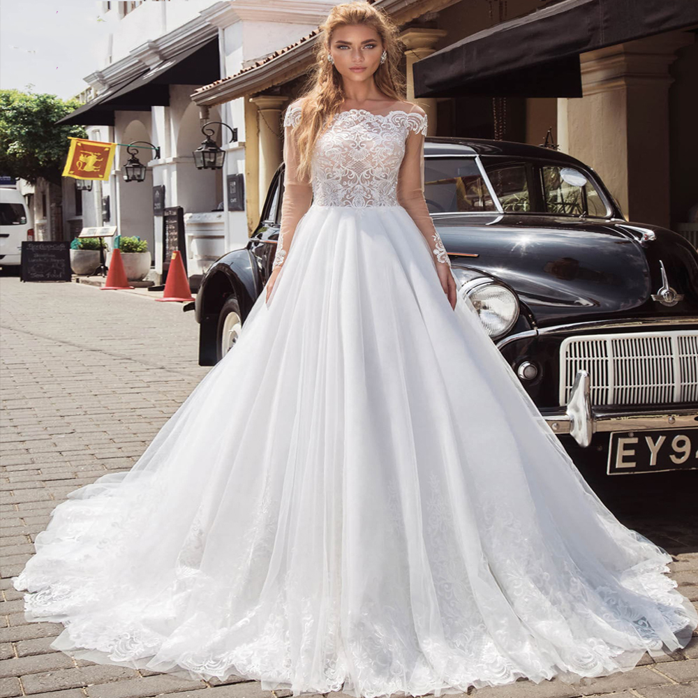 Romantic Princess Ball Gown Illusion Long Sleeve Wedding Dress Exquisite Lace Appliques Bridal Gowns Vestido De Noiva