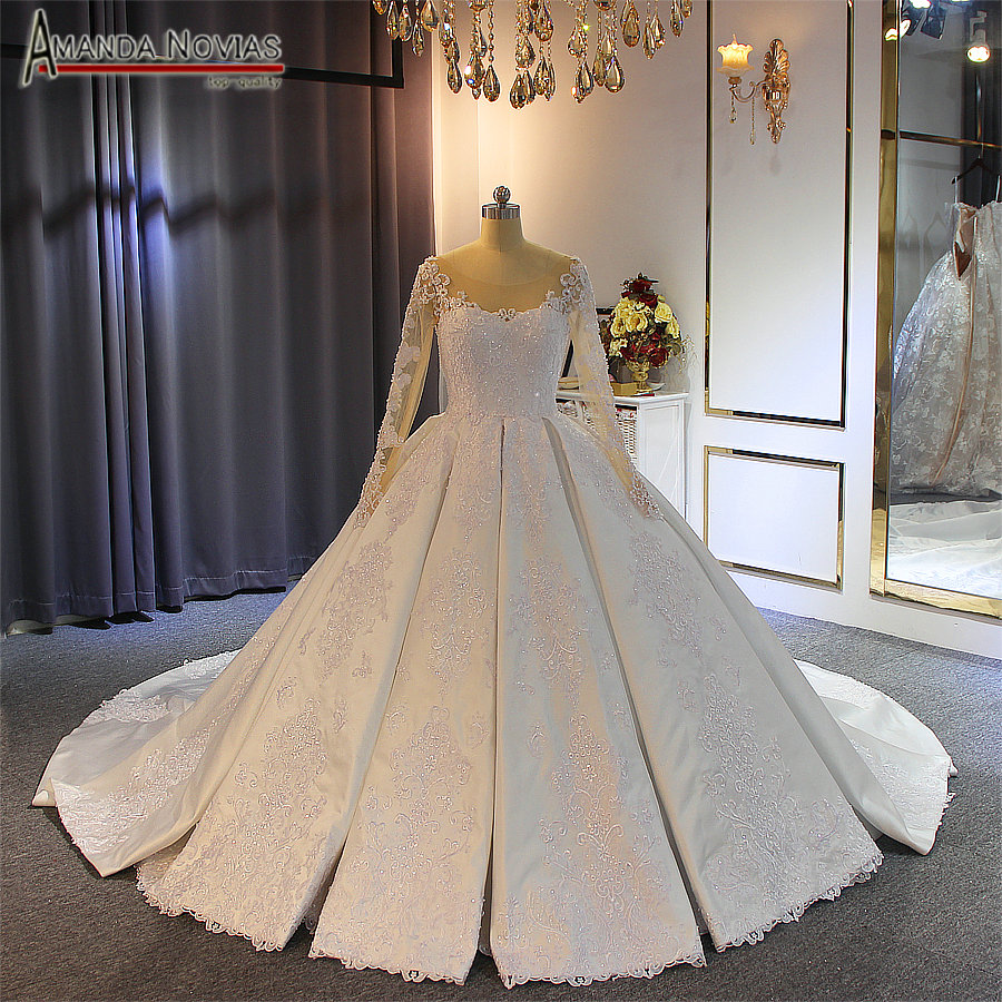 robe de soiree 2019 long sleeves satin wedding dress with lace sleeves real work