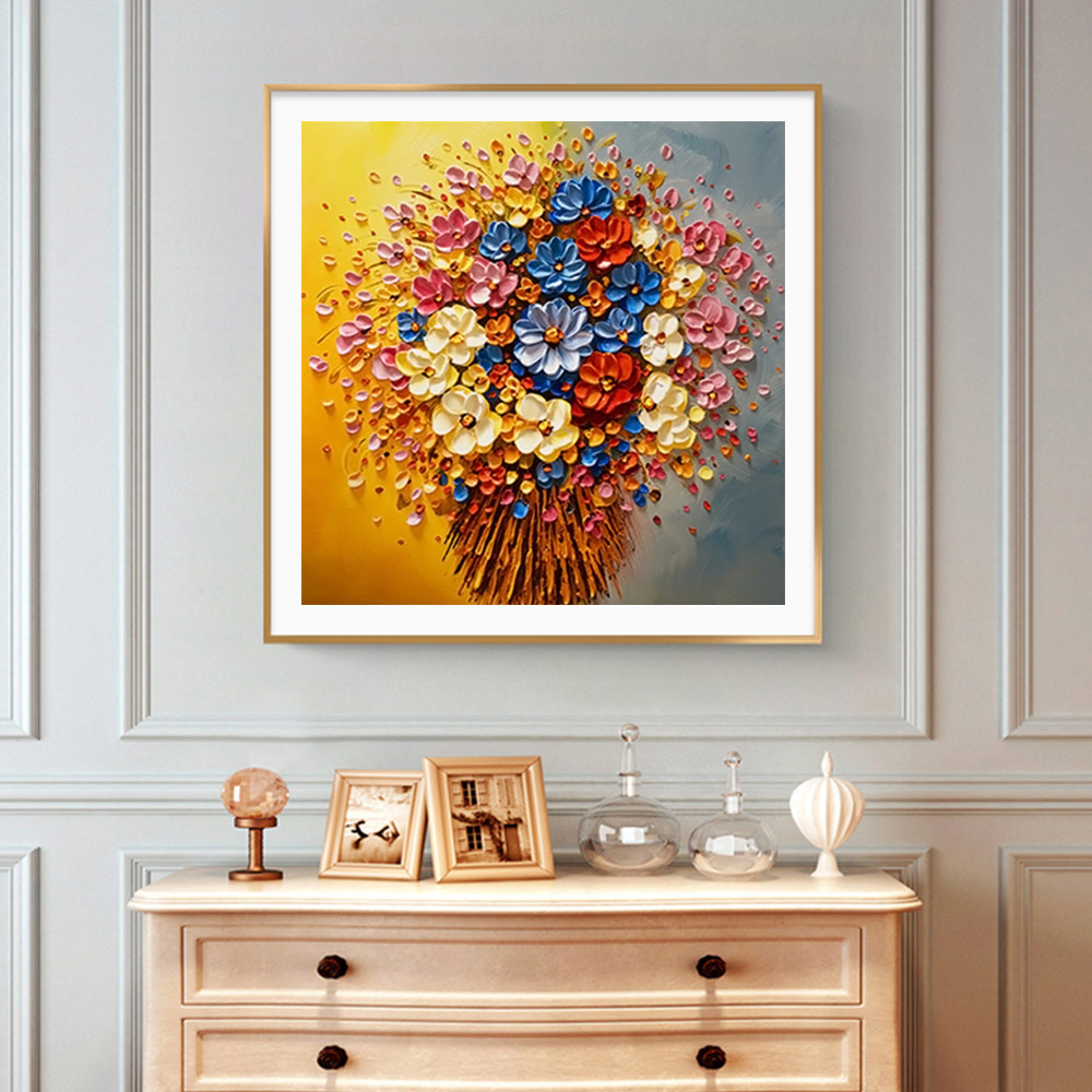 floral Diamond Painting Full Round Oil painting style New DIY Sticking Drill Cross Embroidery 5D Stereoscopic Home Decoration in Diamond Painting Cross Stitch from Home Garden