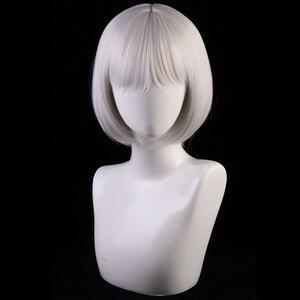 Image 2 - 30 センチジュールレーンコスプレウィッグ加賀女性の髪合成シルバーグレーボブかつら衣装レーン加賀かつら