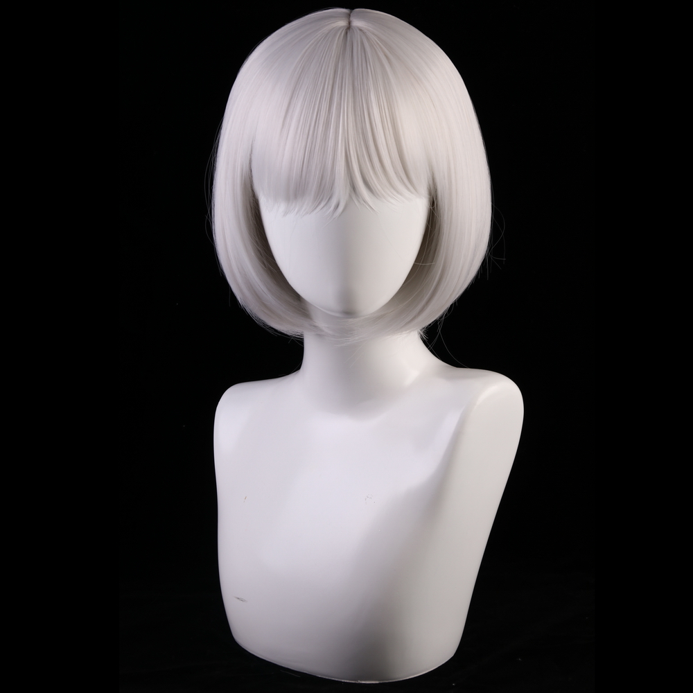 Image 2 - 30cm Azur Lane Cosplay Wig Kaga Women Hair Synthetic Silver Grey Short Bob Wigs Costume Lane Kaga Hairpiece-in Anime Costumes from Novelty & Special Use