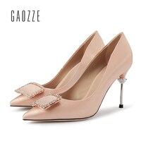 Gaozze со стразами с квадратной пряжкой Туфли лодочки женские острый носок пикантные высокий тонкий каблук шелковая ткань Туфли для латинских