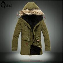 2017 New Russian men winter coats long paragraph lamb wool thick jacket cotton coat for male plus size M-3XL Army green black