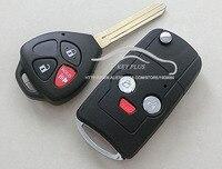 ブランクfob車キーケースブランク用トヨタカムリ2 + 1ボタン変更された折りたたみフリップリモートキーシェル