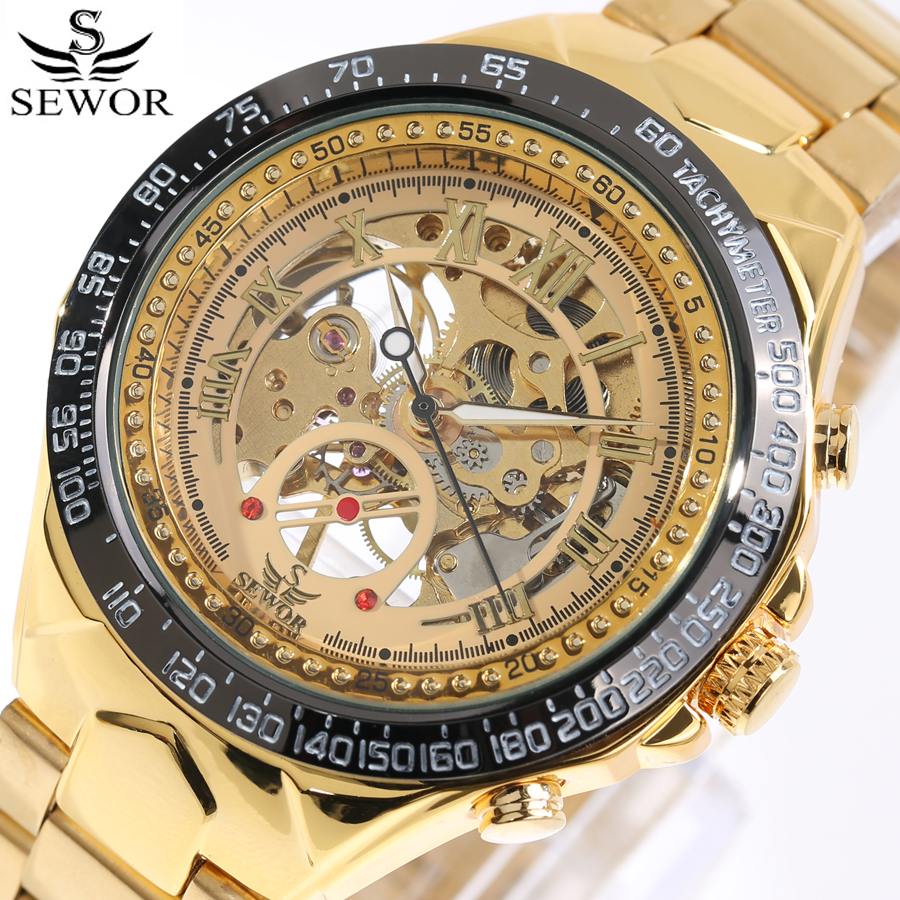 SEWOR Top Brand Luxury Watch Men Skeleton Mechanical Watch Gold Skeleton Sports Watch Mens Stainless Steel Straps relogio 2017 top luxury sewor big automatic military watch men gift gold stainless steel diamond skeleton clock mechanical mens wrist watches