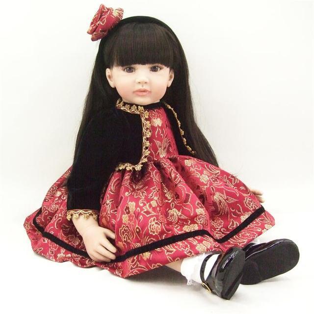 60cm Silicone Reborn Baby Doll Toys 24inch Vinyl Princess Long Hair Toddler Girl Babies Doll Fashion