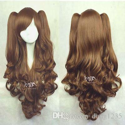 Free shipping New High Quality Fashion Picture wig >>LOLITA Brown Long Wavy 2 Clip Ponytail Cosplay Party Wig Hair 45cm long curly sweet lolita ponytail extension hairpiece wig dark brown