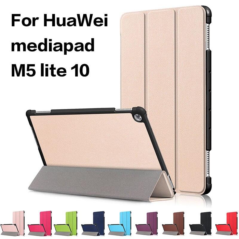 Caso para Huawei MediaPad M5 Lite 10 BAH2-W19/L09/W09 Ultra Slim cuero Pu soporte inteligente para media Pad M5 Lite 10,1