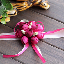 20pcs  Artificial  Flowers Wedding Bride Girl Bridesmaid Floral Hand Wrist Corsage Adjustable Party Supplies artificial hand made flowers